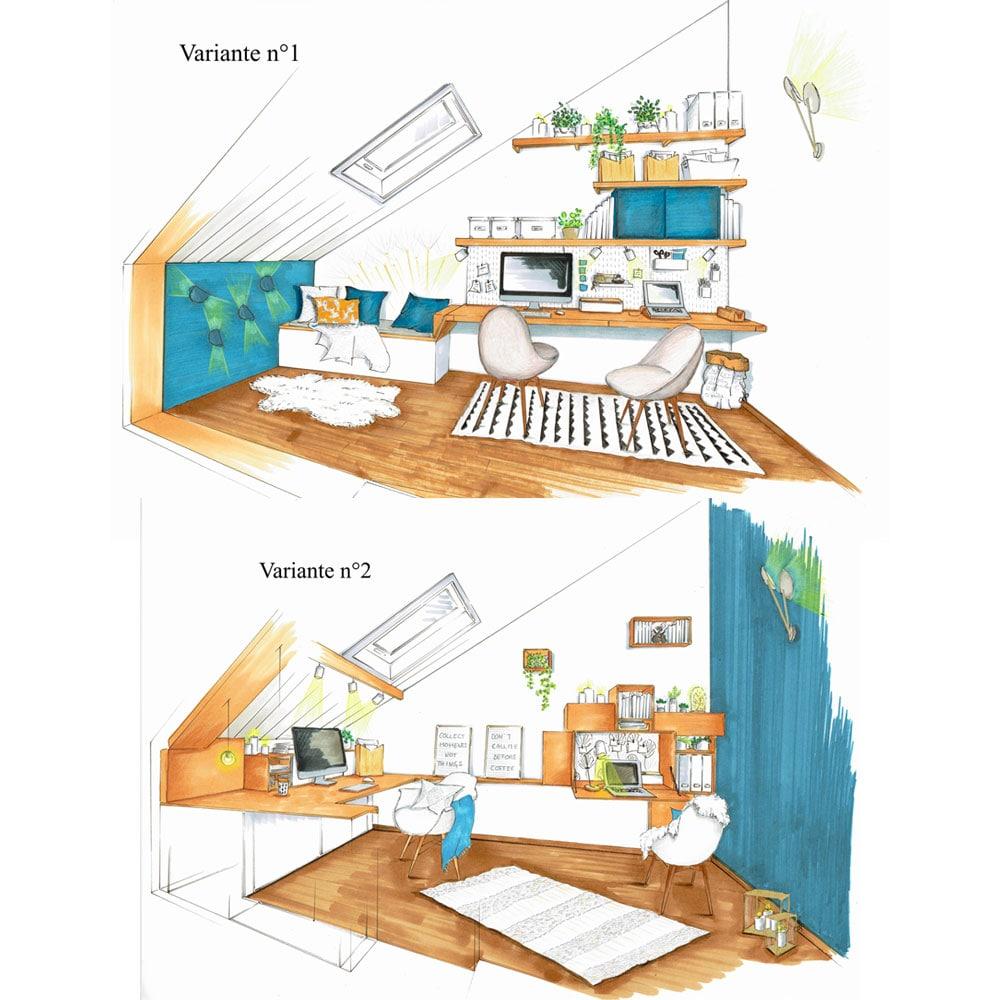 cdlp design interieur, interior designer, architecture interieur, decoration interieur, croquis, perspective, dessin
